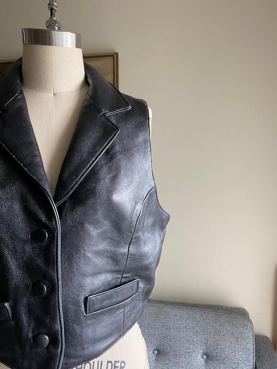 Vintage Black Leather Vest, Button Up Vest, 90's … - image 4