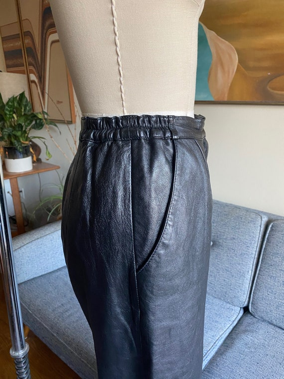 80's Leather Pants / Slouchy / High Waisted Pants… - image 6