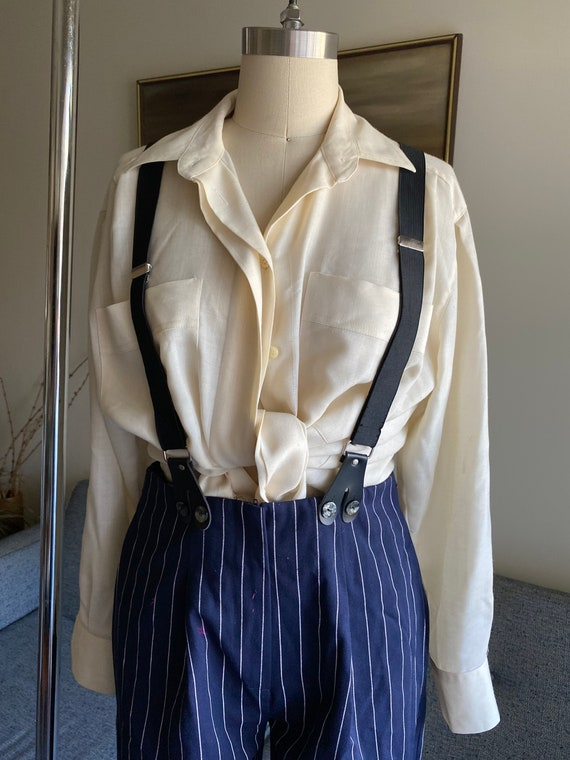 Vintage Striped Pants and Suspenders Set / High W… - image 2