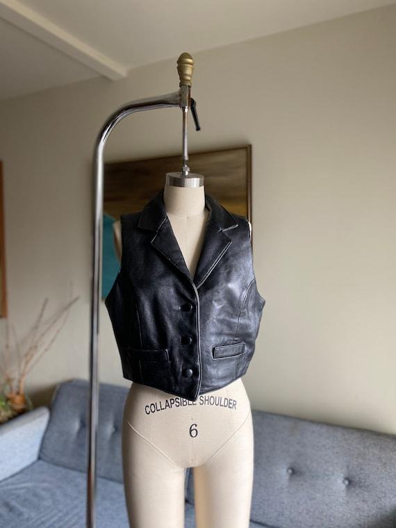 Vintage Black Leather Vest, Button Up Vest, 90's V