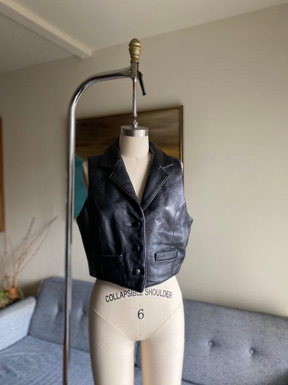 Vintage Black Leather Vest, Button Up Vest, 90's … - image 1