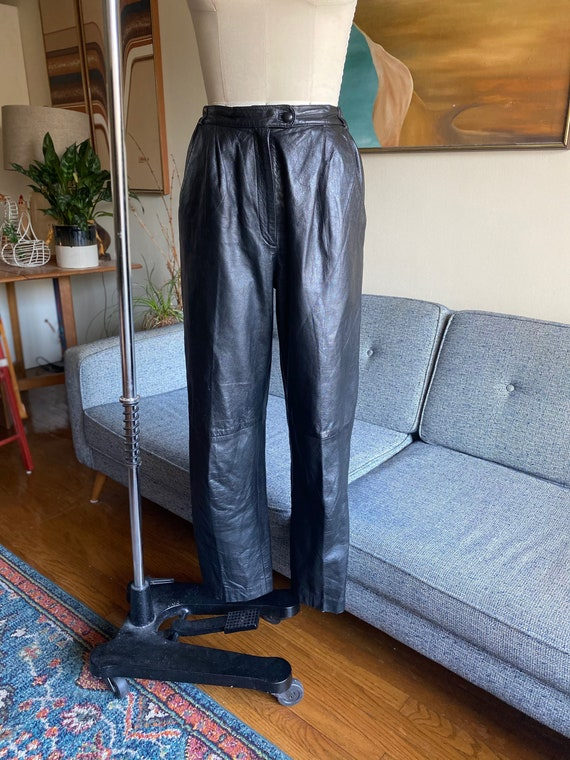 80's Leather Pants / Slouchy / High Waisted Pants… - image 2