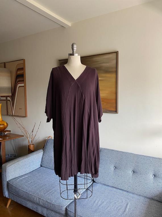 Vintage Loose Dress/ Brown Dress / 90's Minimal Mo
