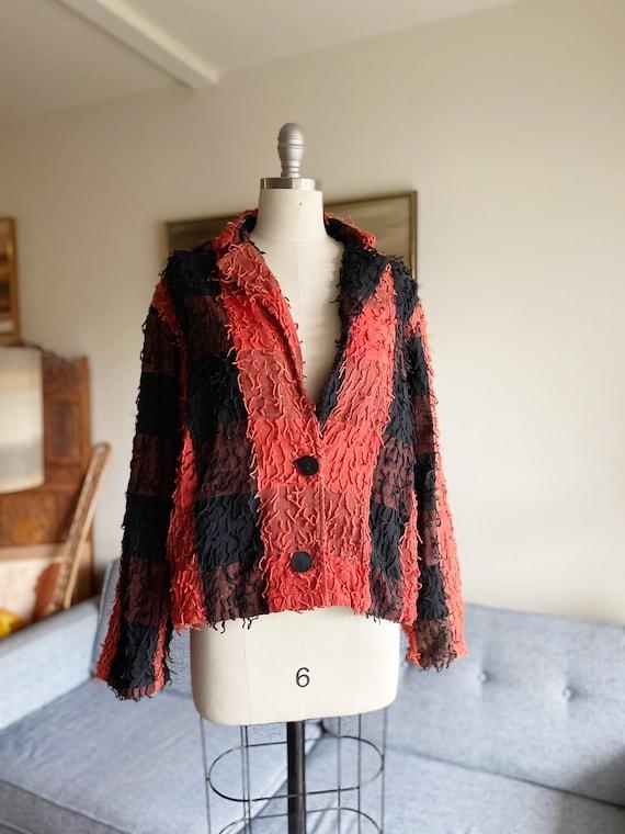 Vintage Cotton Shag Jacket / Oversized Jacket / Mi