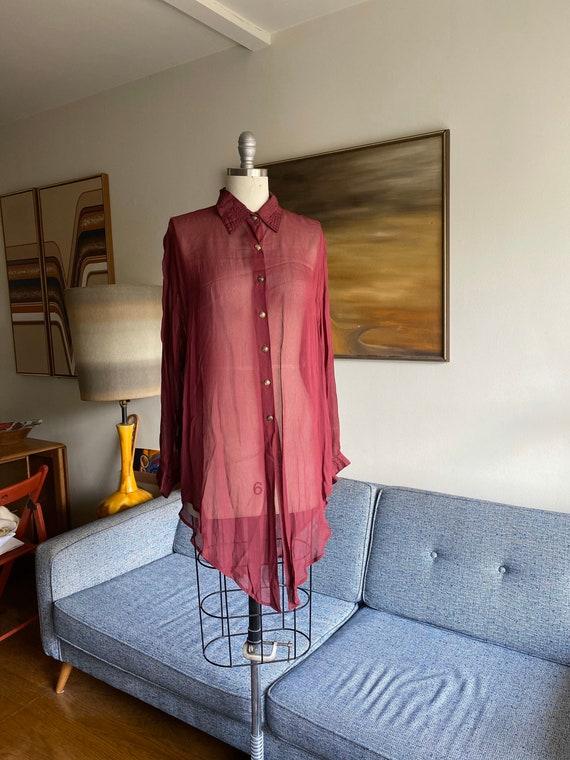 Vintage Sheer Oversized Blouse / Viscose Tunic / M