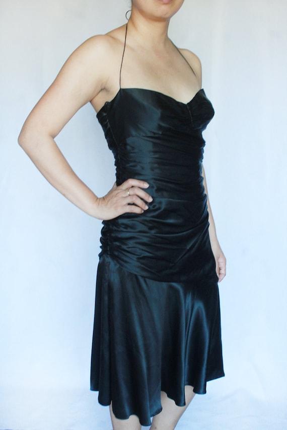 Vintage Black Silk Dress / Tahari Dress / Silk Sl… - image 1