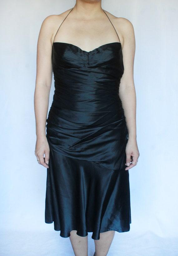 Vintage Black Silk Dress / Tahari Dress / Silk Sl… - image 3