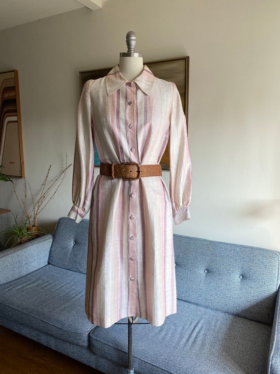 Vintage Raw Silk Shirt Dress, Silk Duster, Pink St