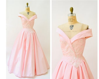 9549e51851 Vintage 80s Pink Prom Dress Medium Large Pink Princess Dress Mike Benet  //80s Pink Ball Gown Beauty Pageant Southern Bell Dress Gown