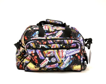 a451602de5cd Vintage Nicole Miller GYM BAG Duffle Bag Chocolate Candy Bar Print Gym  large Bag   Vintage 90s Bag Butterfinger Snickers Chocolate Print