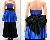 Vintage 80s Prom Dress Size Small Blue and Black Vintage 80s Party Dress Strapless Evening Gown Pageant Dress Size XS Small by Gunne Sax