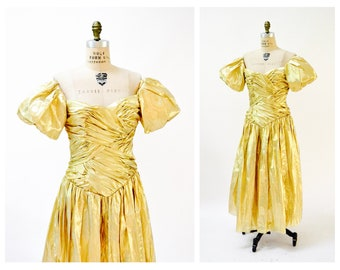 Vintage Metallic 80s Prom Dress Gold Small   Gold Metallic 80s Party Dress  80s Pageant Drag queen Dress Small Medium Dynasty by Alyce Design de6a6c68f7e7