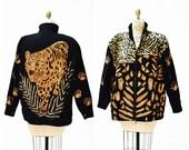 Vintage Sequin Jacket Black Large XL with Leopard Cheetah Animal Pattern Vintage Black Sequin Jacket Animal Modi Large XL