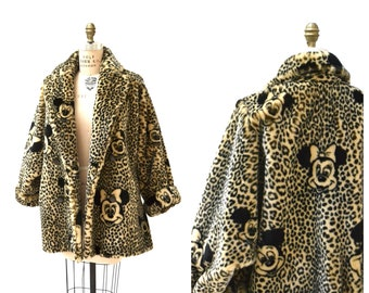 3f1470a156c2 Vintage Faux Fur Jacket Coat with Mickey Mouse Minnie Mouse Disney 90s  Animal Print Faux Fur Coat by Apparence Paris Small Medium