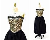 Vintage 80s Prom Dress Strapless Black Lace Sequin Crinoline Dress Size XS Small 80s does 50s Black Party Bridesmaid Dress Gunne Sax