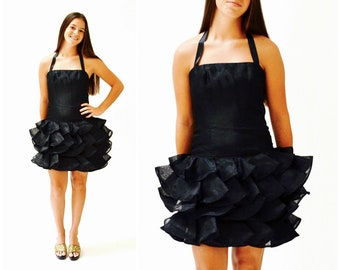 119a0c08080 Vintage 80s Prom Dress Black Ruffle Dress By Victor Costa   80s Party Dress  Size XXS XS Ruffle Pageant Party Dress