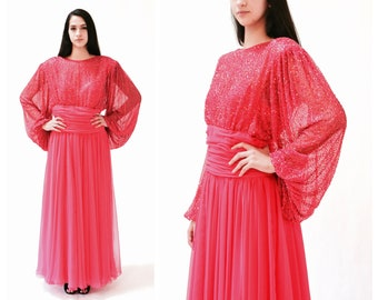 ac09bb9ef856f 70s Vintage Evening Gown Dress Medium Large Beaded Pink    Vintage Beaded  Draped Goddess Dress Medium Large Pink Fuchsia by Victoria Royal