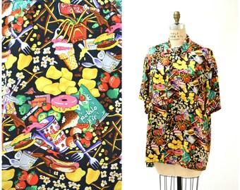 6166e29a 90s JUNK Food Print Vintage Nicole Miller Silk Shirt Size Large XL Pop Art  Silk Shirt Fast Food Doughnuts Ice cream