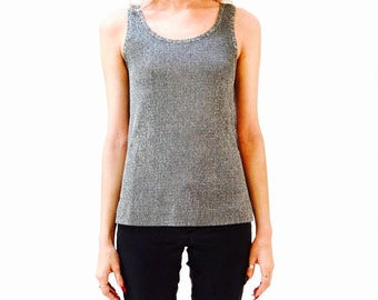 8d736195ceb6cf 70s Vintage Silver Ribbed Tank Top Size Small Grey Metallic Silver Knit Tank  Top Size Small