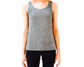 f3fae33e4f4be 70s Vintage Silver Ribbed Tank Top Size Small Grey Metallic Silver Knit Tank  Top Size Small