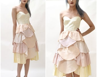 80s does 50s Vintage Party Bridesmaid Wedding Dress Pastel Pink and Cream  Size XS Small   Vintage 80s Prom Dress Strapless Wedding Dress fa22ecec8