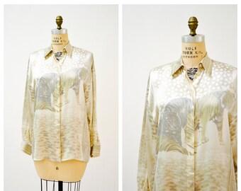 4fe64f951802d Vintage Escada Silk Shirt Blouse Animal Tiger Print White Cream Small  Medium    Vintage Silk Animal Print Shirt Long Sleeve Silk Blouse