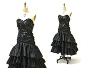 Vintage 80s Prom Dress Black Sequin Dress Evening Gown 80s strapless sequin dress XS Small 80s Pageant Dress Black Sequins Ruffles Dress