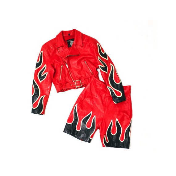 90s Vintage RED Leather Shorts by Michael Hoban N… - image 1