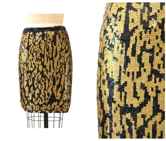 Vintage Metallic Sequin Skirt Size Large Animal Le