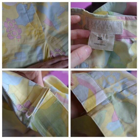 90s Vintage Printed Suit By ESCADA Yellow Blue Ja… - image 10
