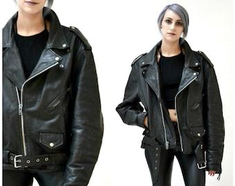 Vintage Black Leather Motorcycle Jacket SIze Mens Large Women XL// Vintage Black Leather Biker Jacket Size Large XL by LA Roxx