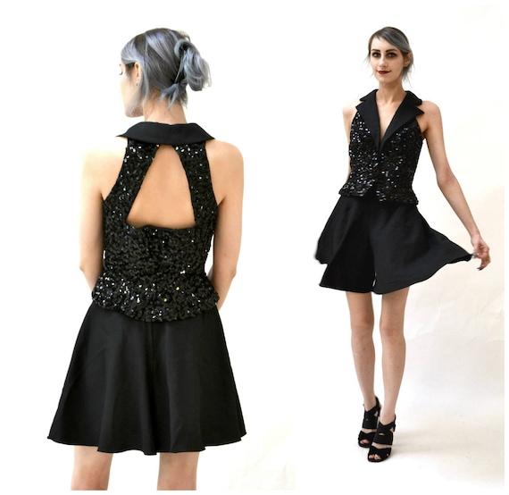 80s Vintage Prom Set Black sequin Vest Black Short