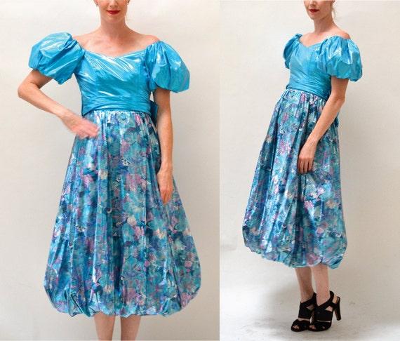 Metallic 80s Prom Dress Size XS Small Blue// Vinta