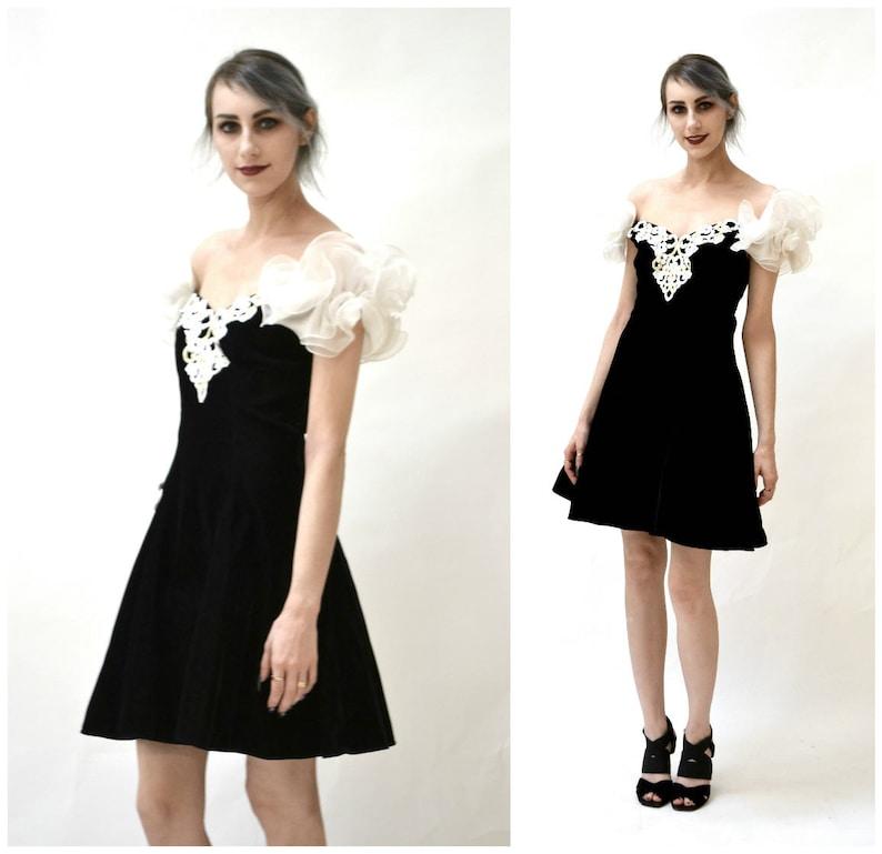 Black 80s 90s Prom Dress Size Small Medium