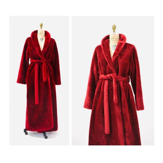 Vintage Cozy Red Robe Faux Fur Medium Large Christ