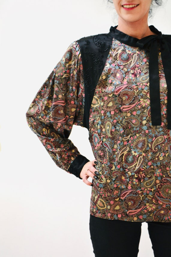 80s Vintage Paisley Print Silk Shirt Blouse Mediu… - image 8