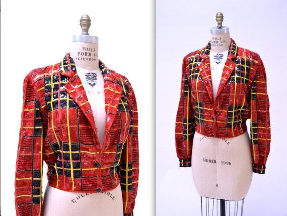 fbe81962d8a Vintage Red Sequin Jacket Size Medium in Red Black Tartan