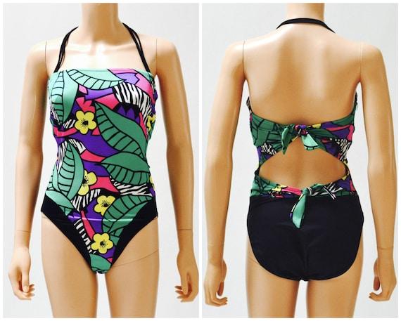 Vintage 80s High Cut Swim Suit size Medium Black T