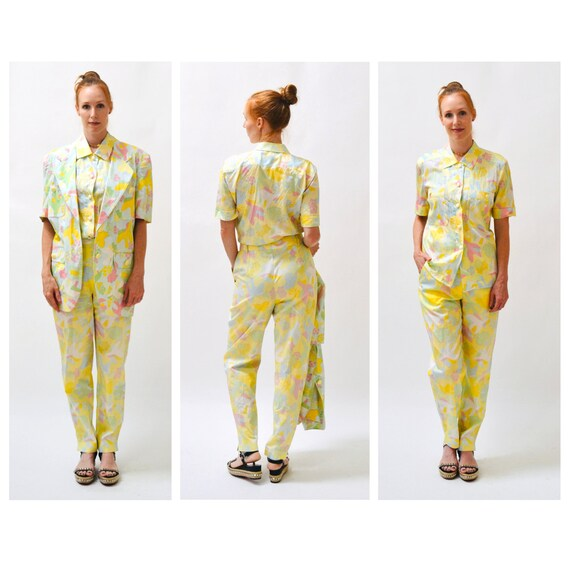 90s Vintage Printed Suit By ESCADA Yellow Blue Ja… - image 6