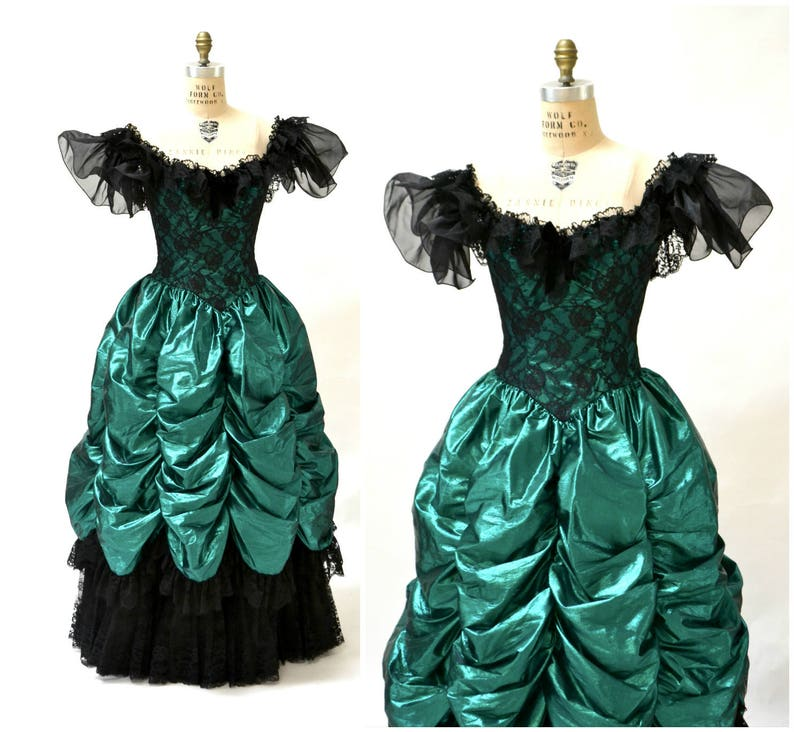 8d1f533594d Vintage 80s Prom Dress Ball Gown XS Small Metallic Green