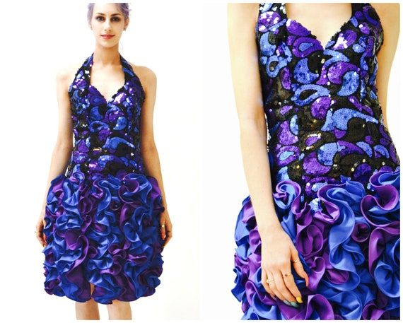 80s Prom Dress Small Purple and Blue Sequin Dress