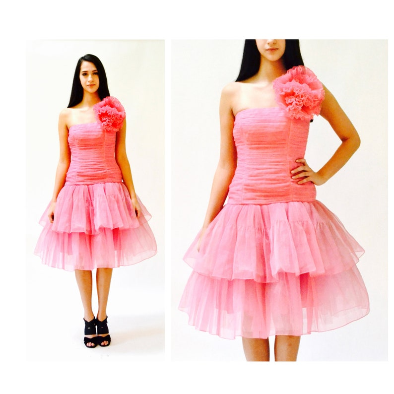 c8543ce69718 Vintage 80s Prom Dress Pink Size XS Small Victor Costa//80s Party Dress  Pink XS Small Crinoline Rock Rock