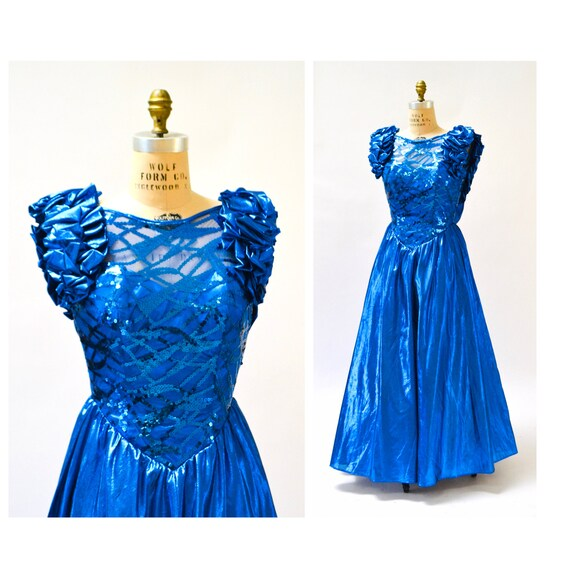 Vintage 80s Prom Dress Small Medium Metallic Blue