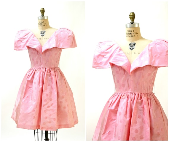 Vintage 80s Prom Dress Pink Size Small with Polka Dots Victor