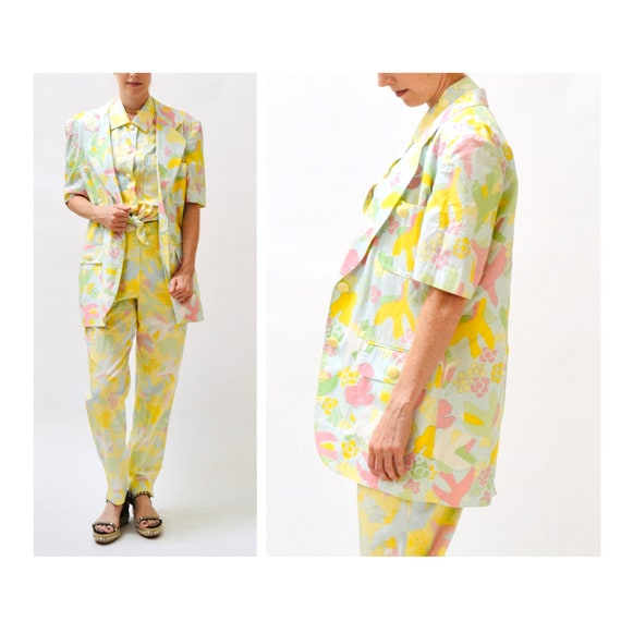 90s Vintage Printed Suit By ESCADA Yellow Blue Ja… - image 1