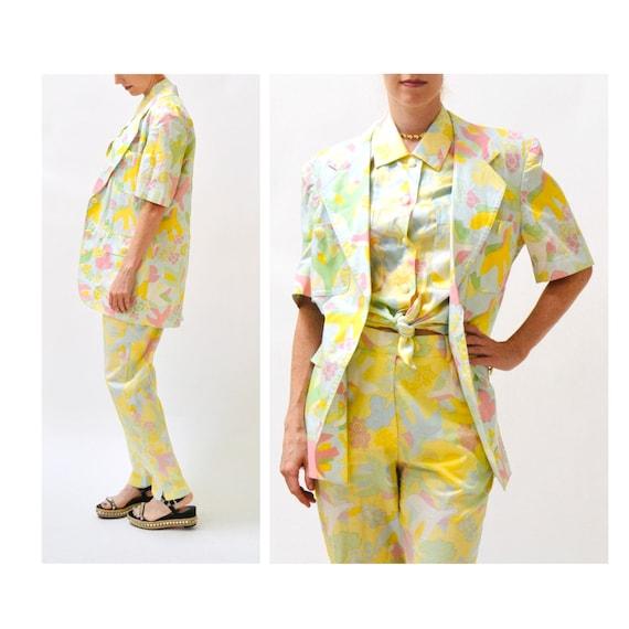 90s Vintage Printed Suit By ESCADA Yellow Blue Ja… - image 4