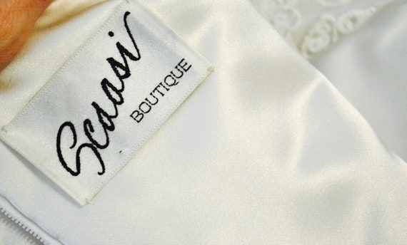 Vintage SCAASI Boutique White Floral Embroidered … - image 10