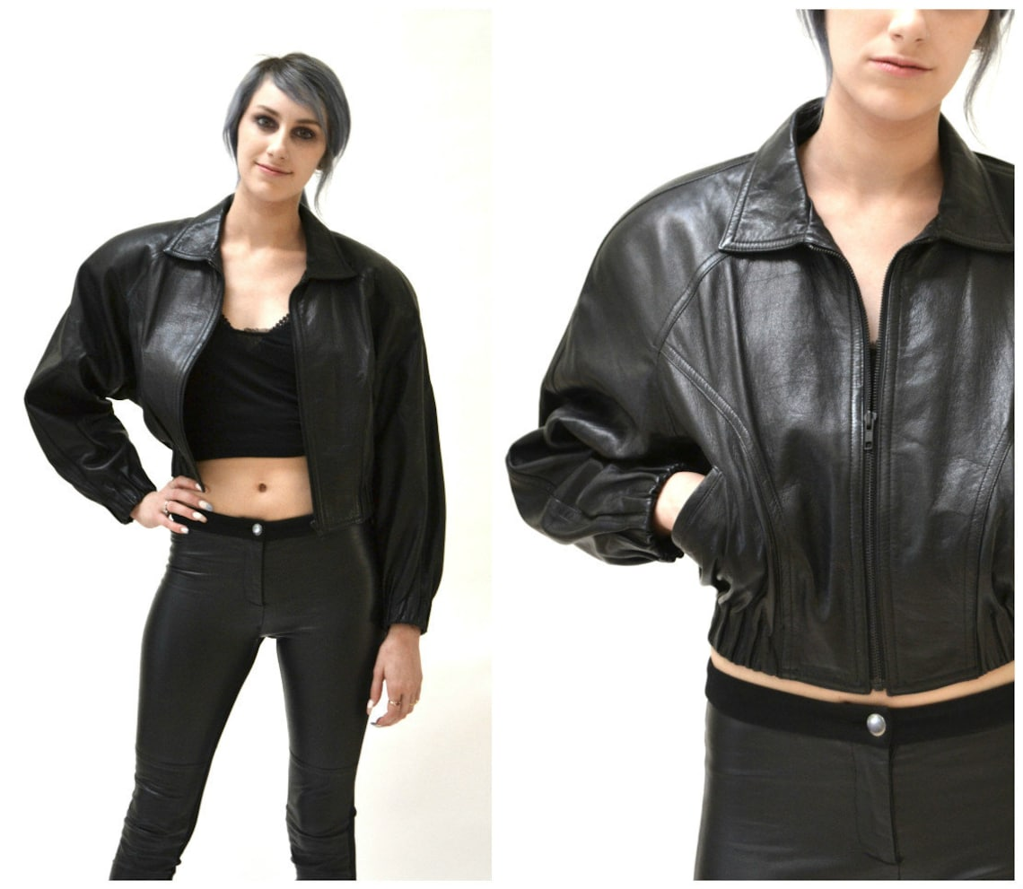 Vintage Black Leather Motorcycle Jacket By North Beach Michael Hoban// Bomber Moto Size Small