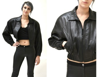 Vintage Black Leather Motorcycle Jacket by North Beach Michael Hoban// Vintage Black Leather Bomber Moto Jacket SIze Small