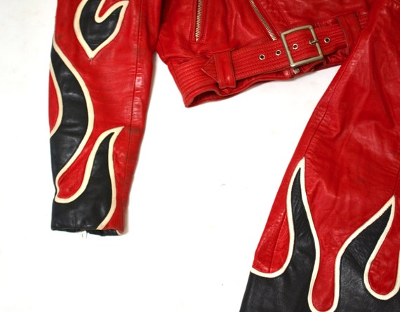 90s Vintage RED Leather Shorts by Michael Hoban N… - image 4